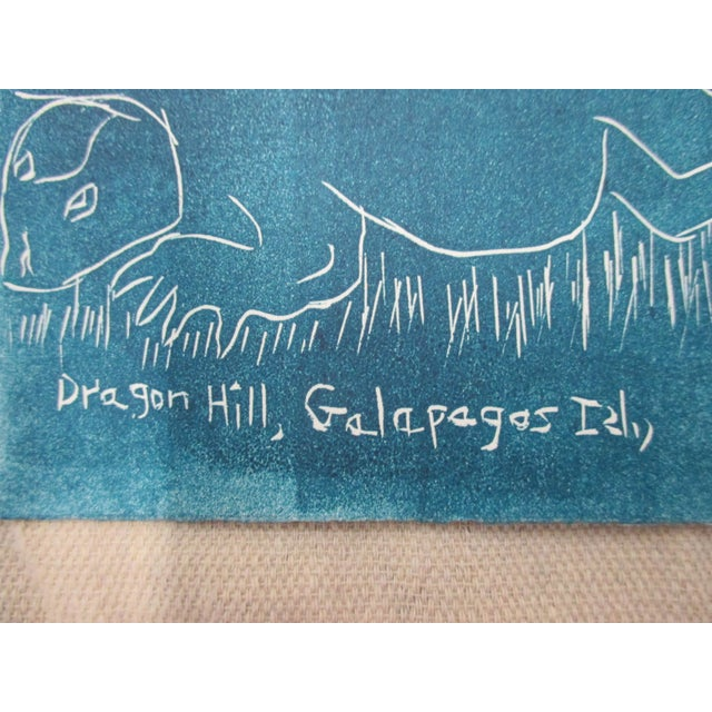 Boho Chic Vintage Lithograph in Blue and White About the Galapagos For Sale - Image 3 of 5