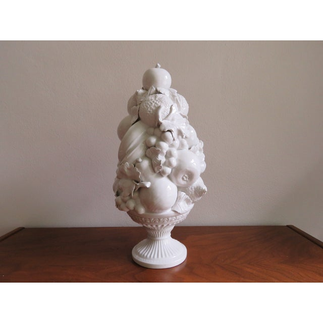 Ceramic Vintage Italian Mid-Century White Ceramic Majolica Fruit Topiary For Sale - Image 7 of 7