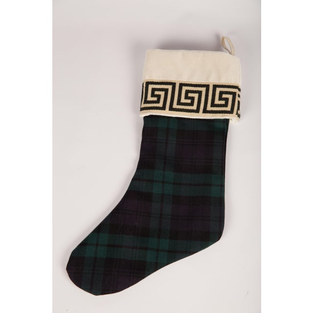 Black Watch Wool and Greek Key Christmas Stocking For Sale - Image 4 of 5