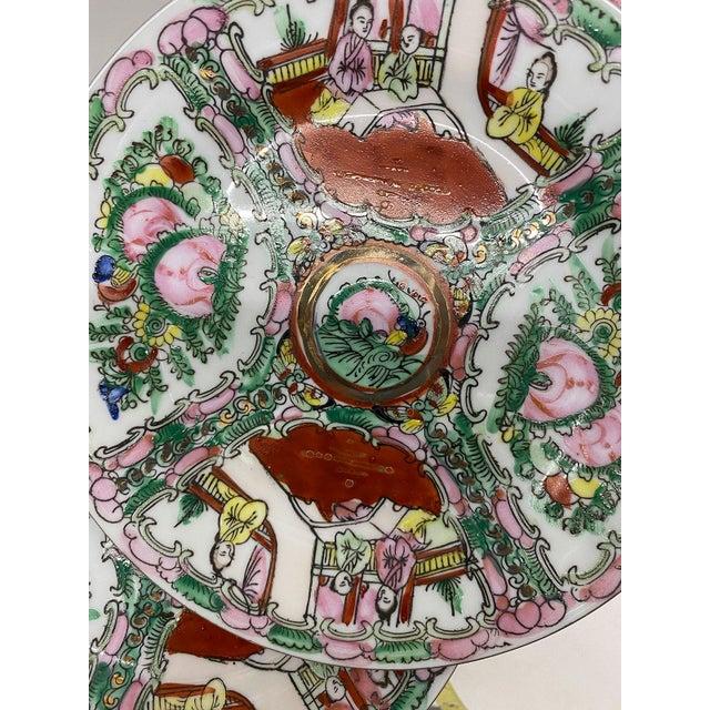 Vintage Small Rose Medallion Decorative Plates Set of 4 For Sale - Image 4 of 12