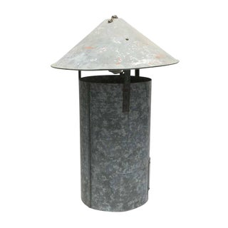 Industrial Tin Cone Pendant Fixture For Sale