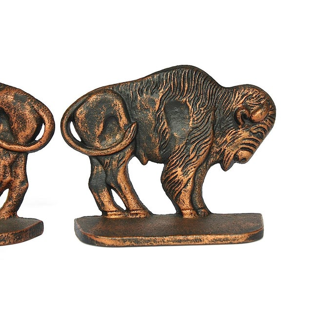 Copper Vintage Bison Buffalo Bookends - a Pair For Sale - Image 8 of 11