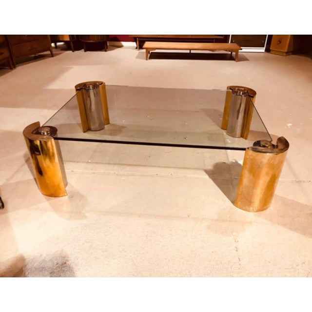 """Karl Springer two tone modern cylinder base coffee table, 1970's. Measures 14"""" high and 60"""" wide, 36"""" deep. Good..."""