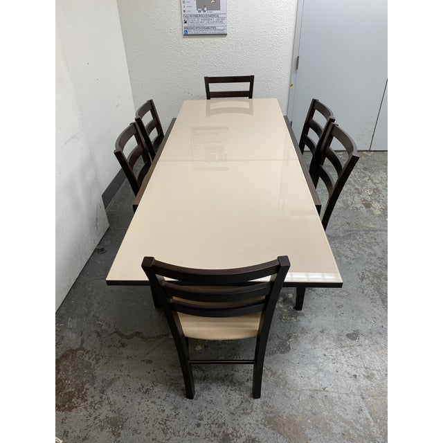 Contemporary Calligaris Extendable Dining Table + Six Chairs Set For Sale - Image 3 of 13