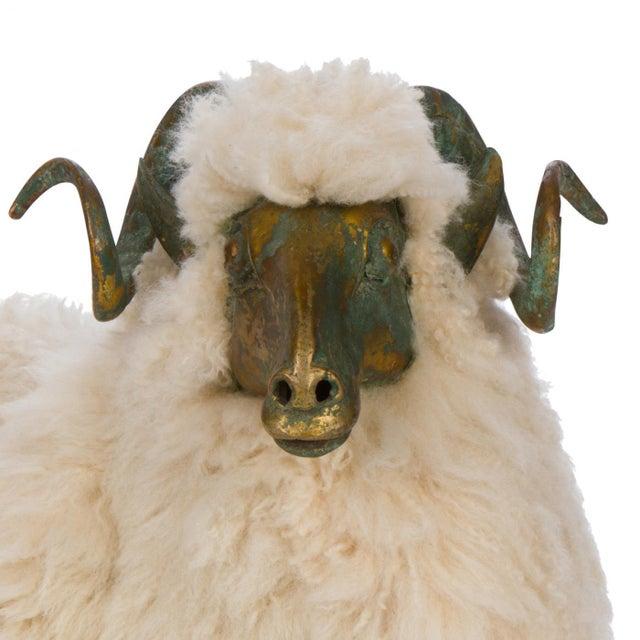 Modern Solid Bronze & Fur Sheep Sculpture For Sale - Image 3 of 5