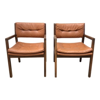 Mid Century Modern Leather Chairs- a Pair For Sale