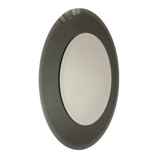 Grey Glass Round Mirror For Sale