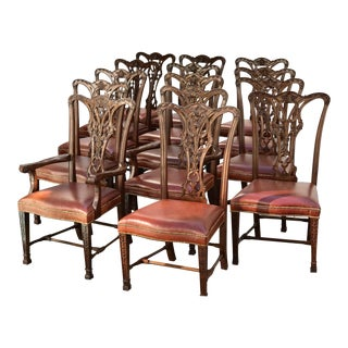Chippendale Style WalnutDining Chairs - Set of 12