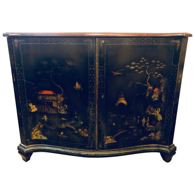 Fine Custom Quality Ebony Chinoiserie Commode or Cabinet Server For Sale - Image 13 of 13