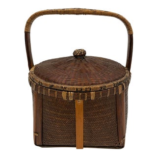 Vintage Chinese Hand Made Bamboo Strip Sewing Basket For Sale