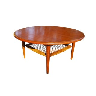 Johannes Andersen Danish Mid Century Modern Teak Coffee Table With Cane Shelf