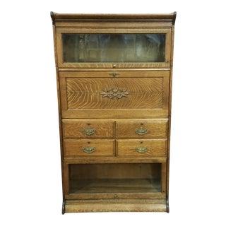 Vintage American Oak Lawyers Barrister Bookcase / Desk