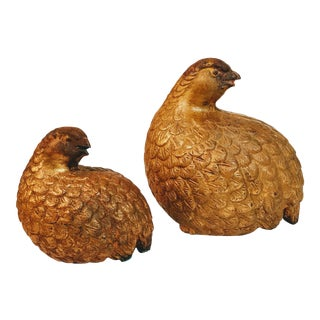 Vintage Mid Century Quail Bird Figurines- A Pair For Sale