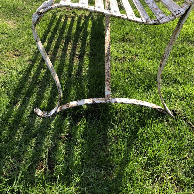 French 1920's White Garden Benches - a Pair For Sale - Image 9 of 12