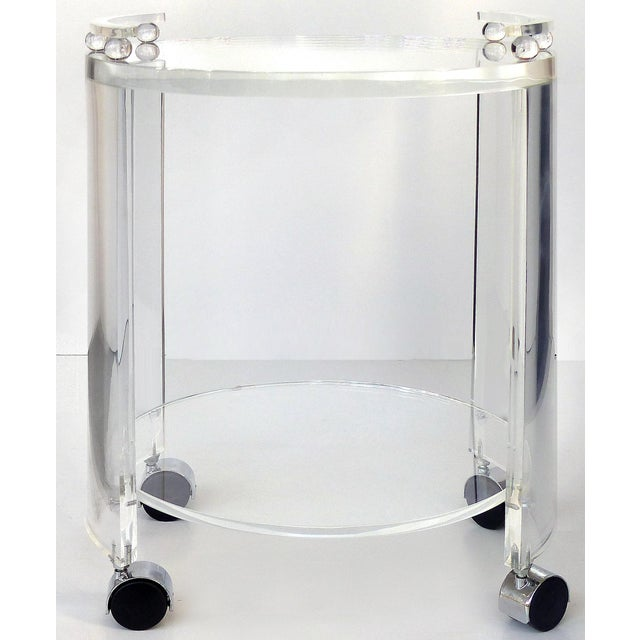 Round Lucite Bar Cart on Casters For Sale - Image 11 of 11