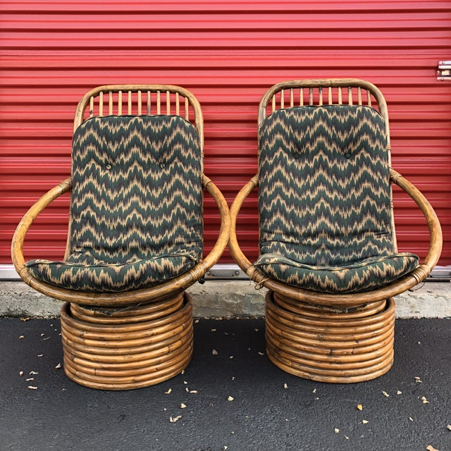 1960s Anglo-Indian Rattan Swivel Lounge Chairs - a Pair For Sale - Image 13 of 13