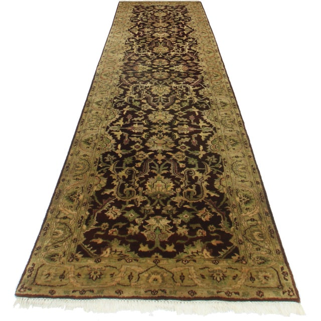 Here is a Persian Style runner, made of hand-knotted wool. Handmade in India.