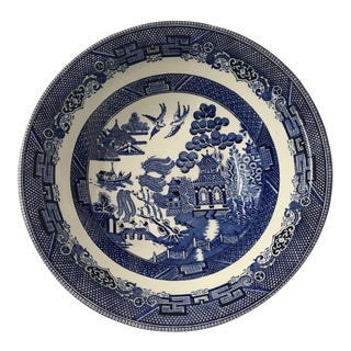 Late 20th Century Vintage Johnson Brothers Willow Pattern Serving Bowl For Sale