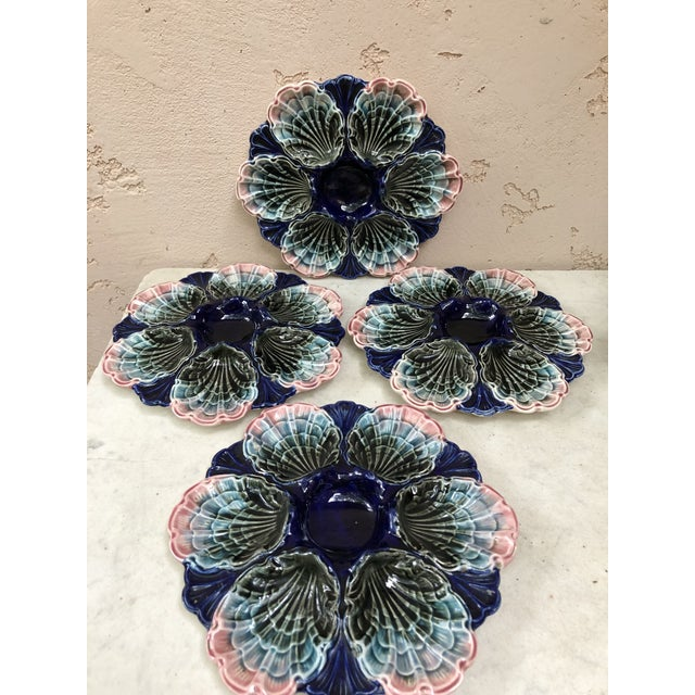 C.1890 Very Rare French Majolica Oyster Plate Fives Lille For Sale - Image 4 of 11