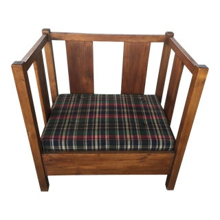 Oak Arts & Crafts Style Hall Bench For Sale