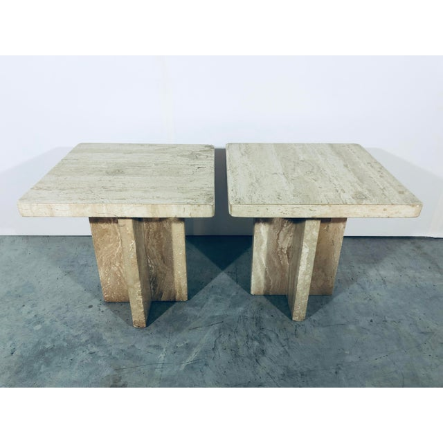 Contemporary 1970s Italian Travertine Side Tables - a Pair For Sale - Image 3 of 13