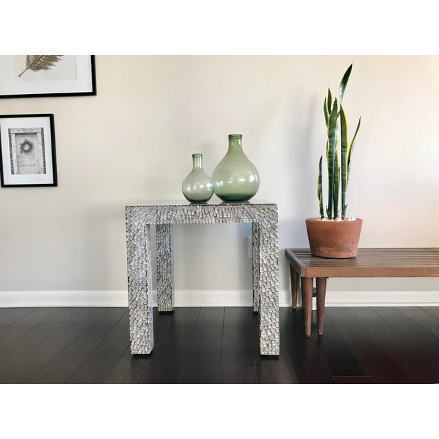 Made Goods Contemporary Made Goods Vertagus Shell Inlay Parsons Side Table For Sale - Image 4 of 13