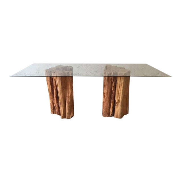 Ipe Wood Trunk Pedestal Dining Table with Glass Top - Image 1 of 9