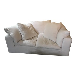 Minimalistic Restoration Hardware Cloud White Linen Loveseat