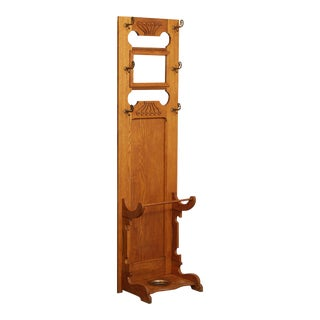 Antique Victorian Oak Narrow Hall Tree with Mirror For Sale