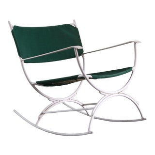 Mid Century Modern Rocking Lounge Chair in Green Canvas and White Metal For Sale
