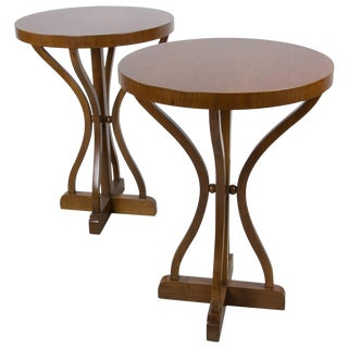 Pair of Walnut Vienna Secession Gueridons For Sale