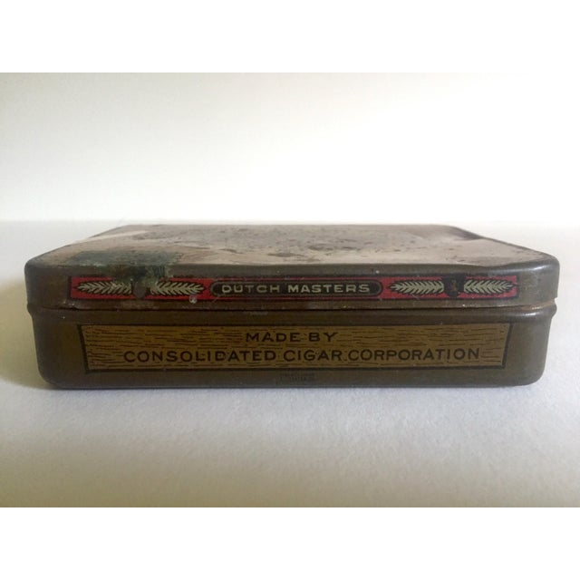 """Vintage Early 1900's """"Dutch Masters"""" Lithograph Cigar Tin Box For Sale - Image 10 of 11"""