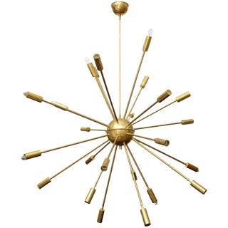 Stilnovo 24 Arm Brass Sputnik Chandelier