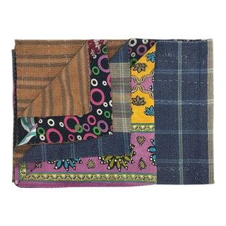Quilted Vintage Kantha Quilt For Sale