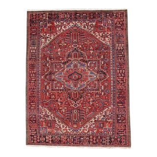 Vintage Persian Heriz Rug With Mid-Century Modern Craftsman Style For Sale