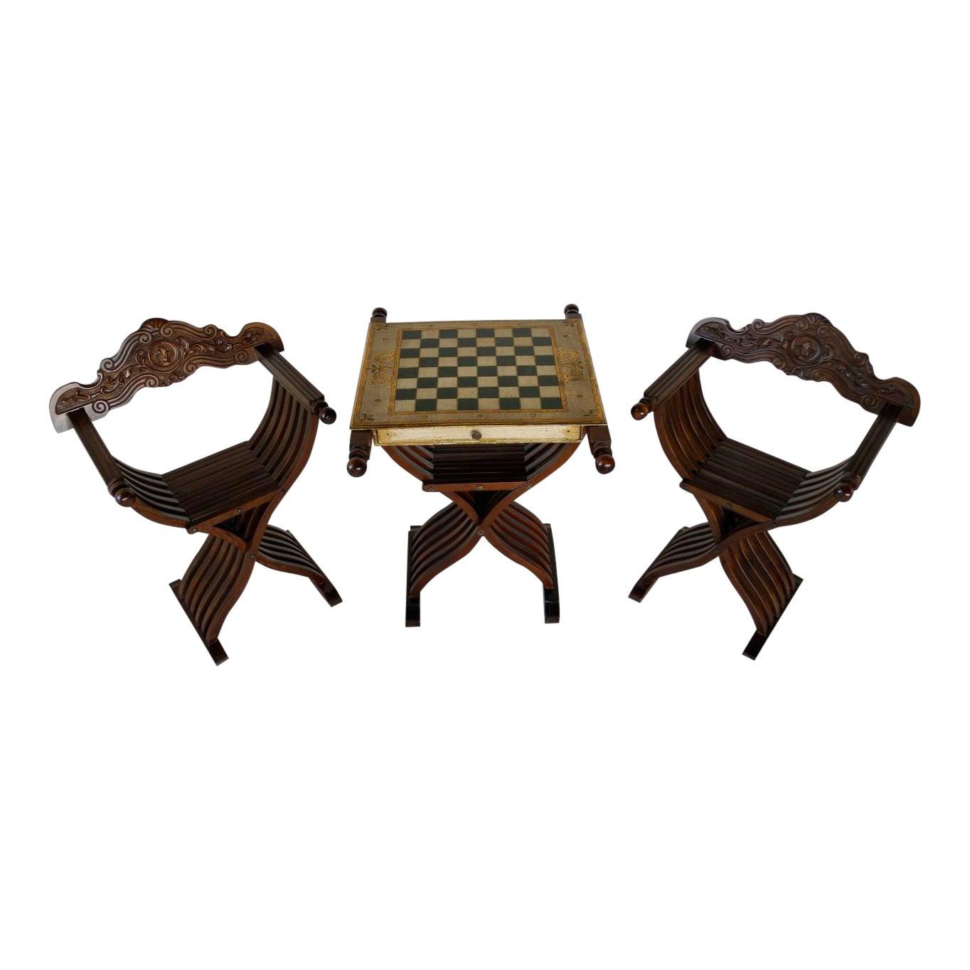 Savonarola Chairs Slatted Folding Table With Chess Board Set Of 3 Chairish