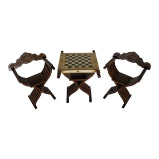 Savonarola Chairs & Slatted Folding Table With Chess Board - Set of 3 For Sale
