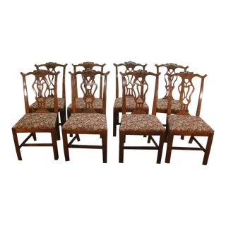 1980s Vintage Cherry Chippendale Dining Chairs- Set of 8 For Sale