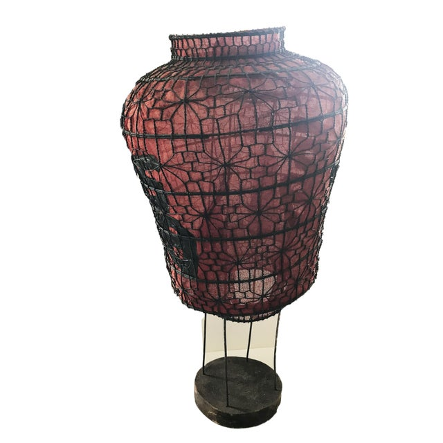 Superb old Iron metal wire Chinese red lantern with Chinese characters in black. Metal was great patina. The mess inside...