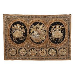 Burmese Kalaga Tapestry Framed in Acrylic Box For Sale