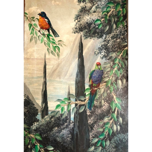 Italian Birds in the Forest Watercolor Painted Panels - Set of 2 For Sale - Image 4 of 13