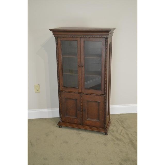 Antique Miniature Victorian Oak 2 Door Bookcase Cabinet For Sale - Image 9 of 13