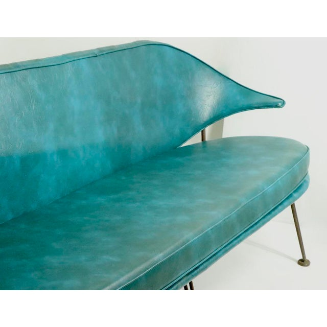 1950s Mid Century Wrought Iron and Vinyl Sofa Settee Loveseat For Sale - Image 5 of 11