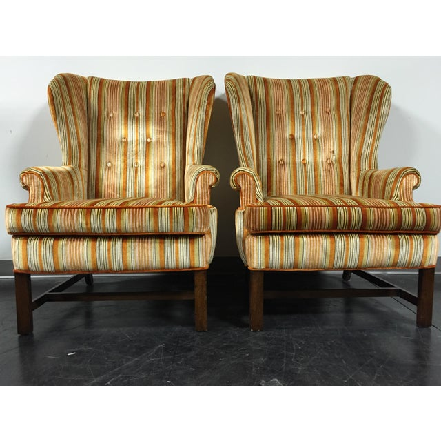 Vintage Mid-Century Tufted Wing Back Chairs - Pair - Image 3 of 11