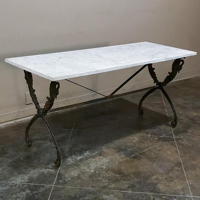 19th Century Wrought Iron Marble Top Confectioner's Table For Sale - Image 4 of 12