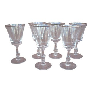 Fostoria Platinum Band Crystal Dessert Wine Glasses - Set of 6 For Sale