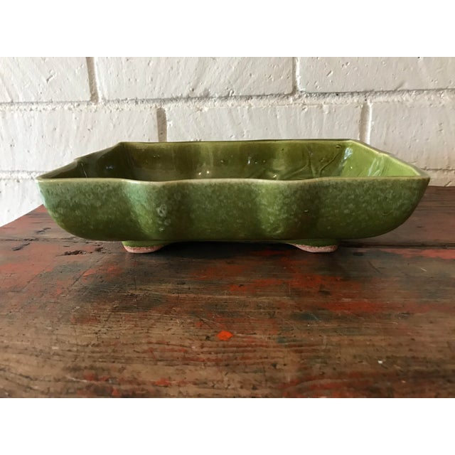 Boho Chic Usa Pottery Green & Blue Shallow Planter For Sale - Image 3 of 9