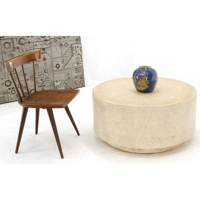 Mid-Century Modern textured faux skin finish cylinder shape studio coffee table in style of John Dickinson.