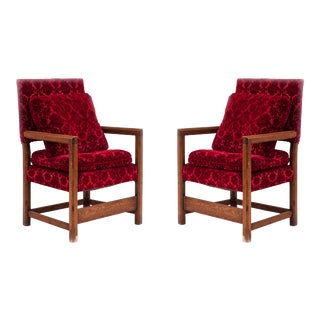 Pair of Renaissance Red Velvet Arm Chairs For Sale