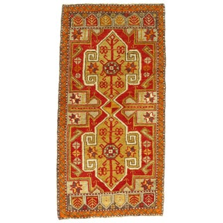 Early 20th Century Antique Turkish Oushak Rug - 1′9″ × 3′4″ For Sale
